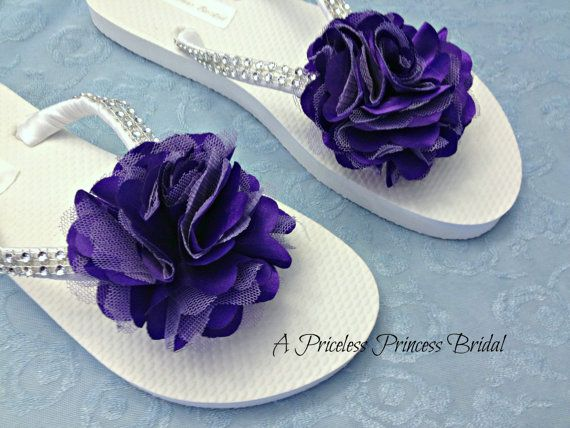 c92e6324a466 Purple Flower Flip Flops Satin Bling Wedding Bridal Bride Bridesmaid Flower  Girl Beach Rhinestones on Etsy