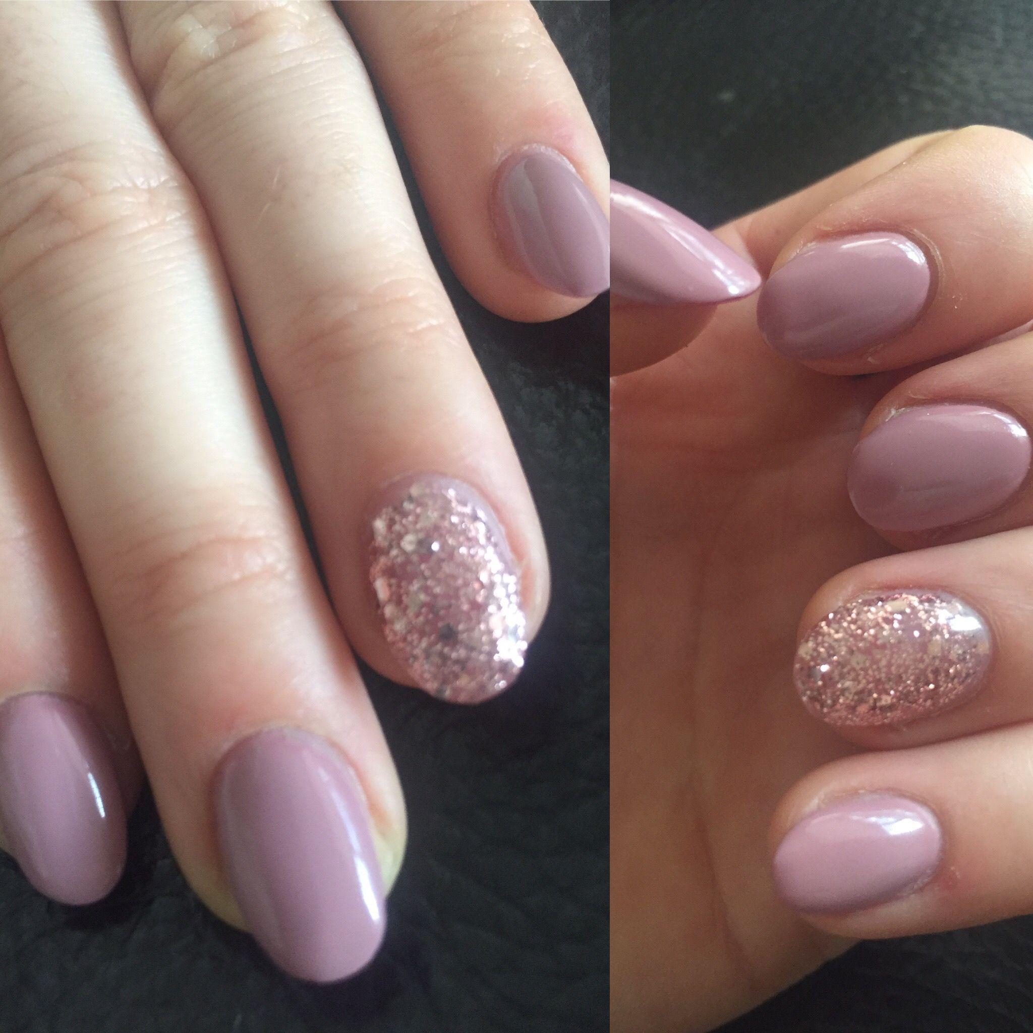 Dusky pink and glitter oval acrylic nails ✨ | Oval nails ...