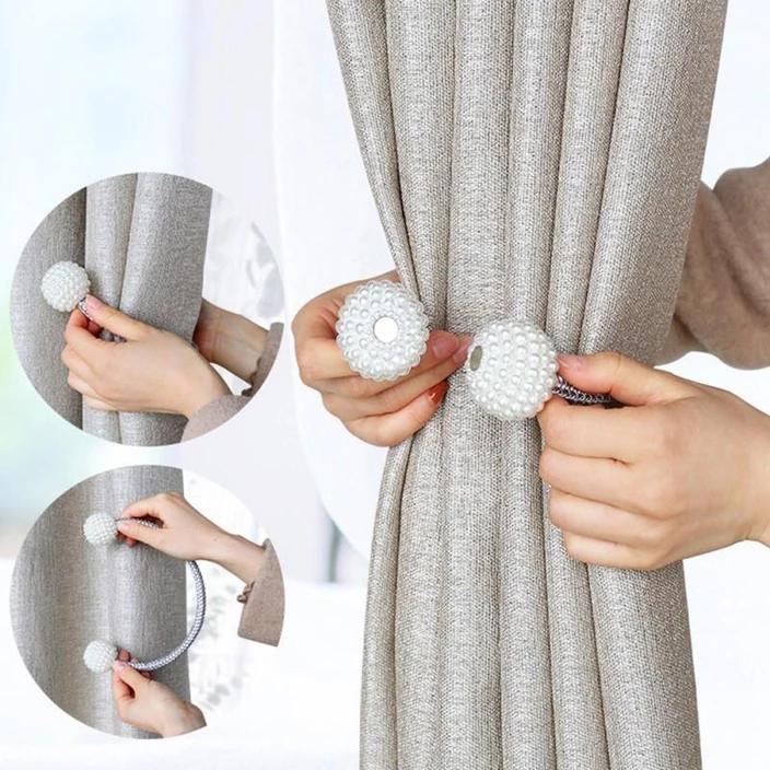 Magnetic Curtain Tiebacks Pearl Beads Goodsvine Magnetic