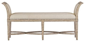 Coastal Living Resort Surfside Bed End Bench - Sandy Linen Finish beach-style-bedroom-benches
