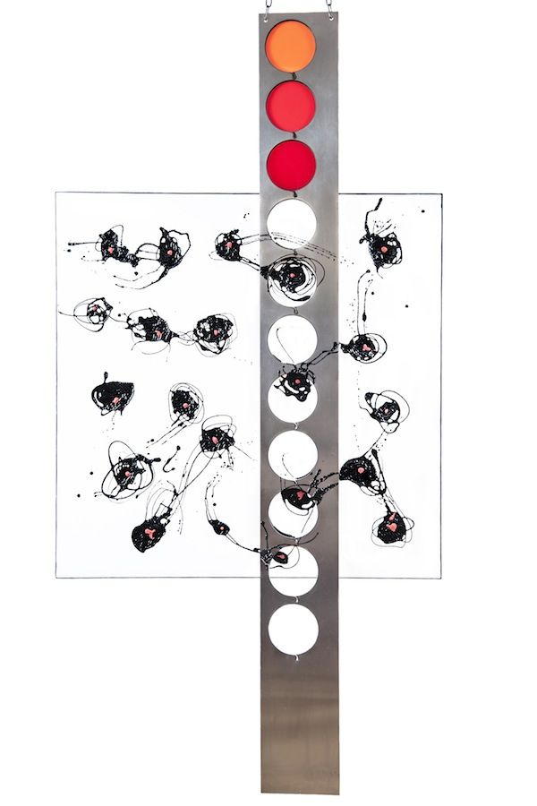 "MANUELA CIMMINO - ""Cell"" Canvas, Varnish, Steel, Plastic 63.3"" x 32"""