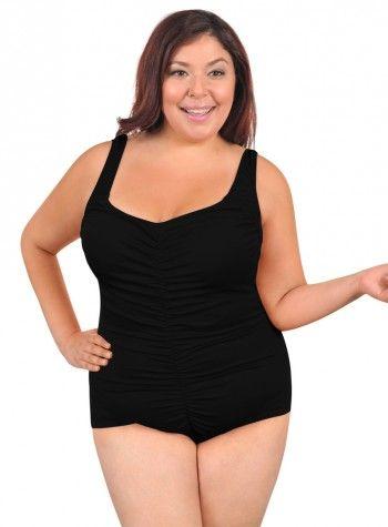 994303b90d Ladies Maxine Plus Size Solid Center Shirred Swimsuit in Black | Chlorine  Resistant Swimwear - Swim & Sweat. This swimsuit is 100% Chlorine Proof, ...