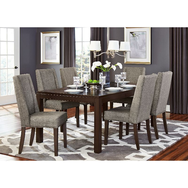 Brown And Gray Modern 5 Piece Dining Set Kavanaugh Collection Brown Dining Room Dining Room Design Dining Table Setting