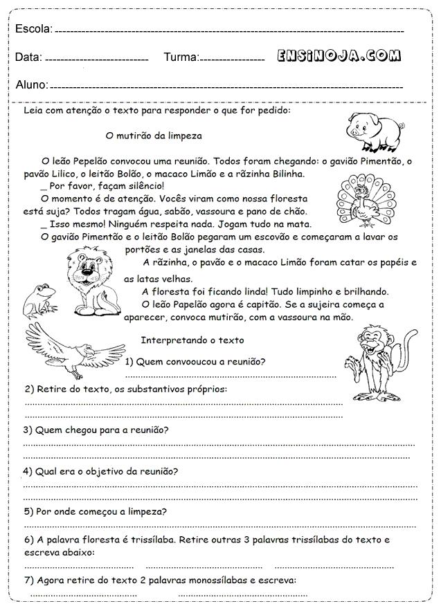 Atividades de interpretação de texto 4° ano - Ensino Já | Escola in ...