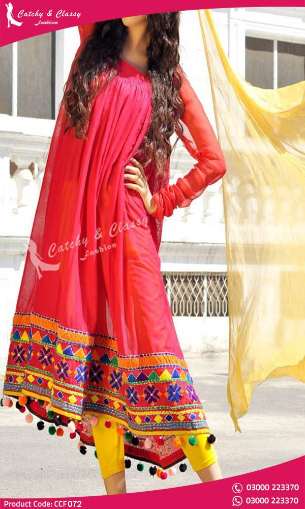 13598b83bc Red Colour Frock fabric linen sleeve chiffon and yellow colour chiffon  dupatta sindhi style embroidery on daman. Get Your New Party Outfit On  Discount Price ...