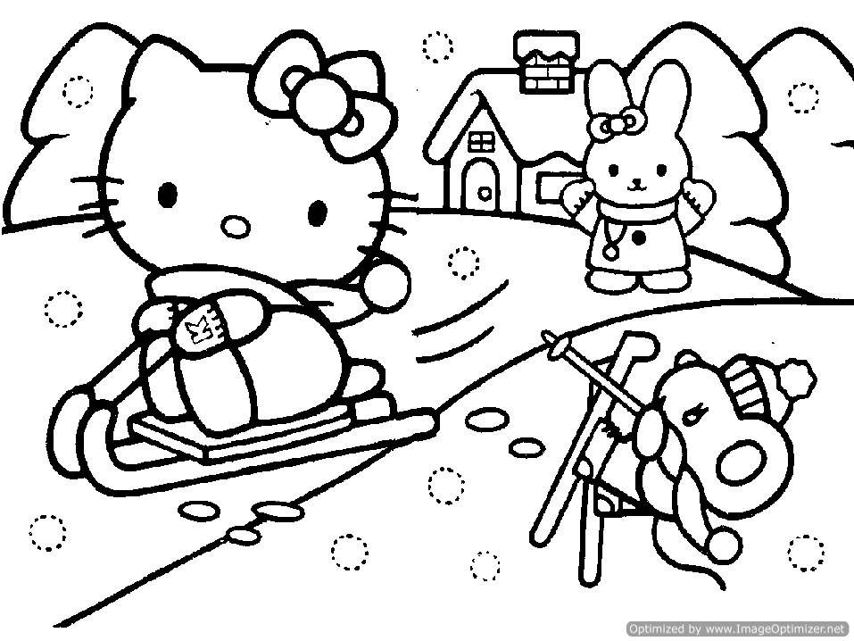 Hello Kitty Christmas Coloring Pages snowman coloring pages