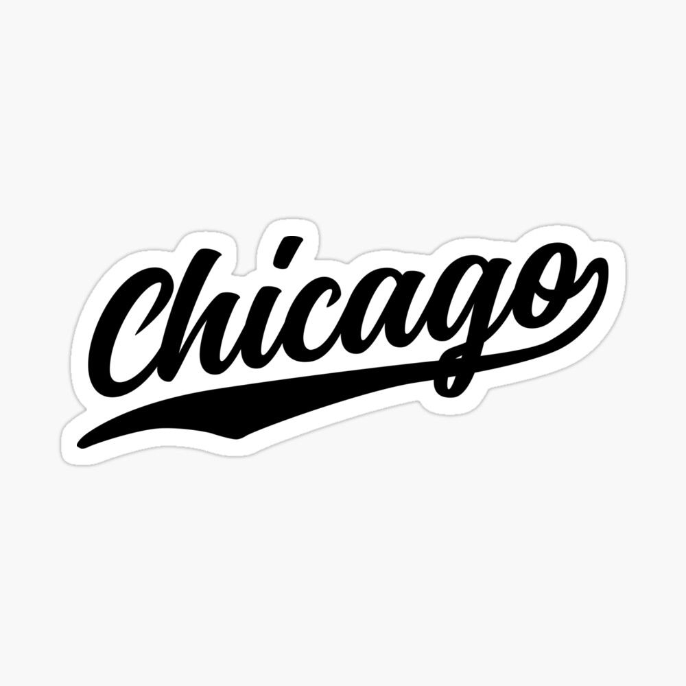 Chicago Vintage Script Swoosh Sticker By Detourshirts Retro Sports Chicago Stickers [ 1000 x 1000 Pixel ]