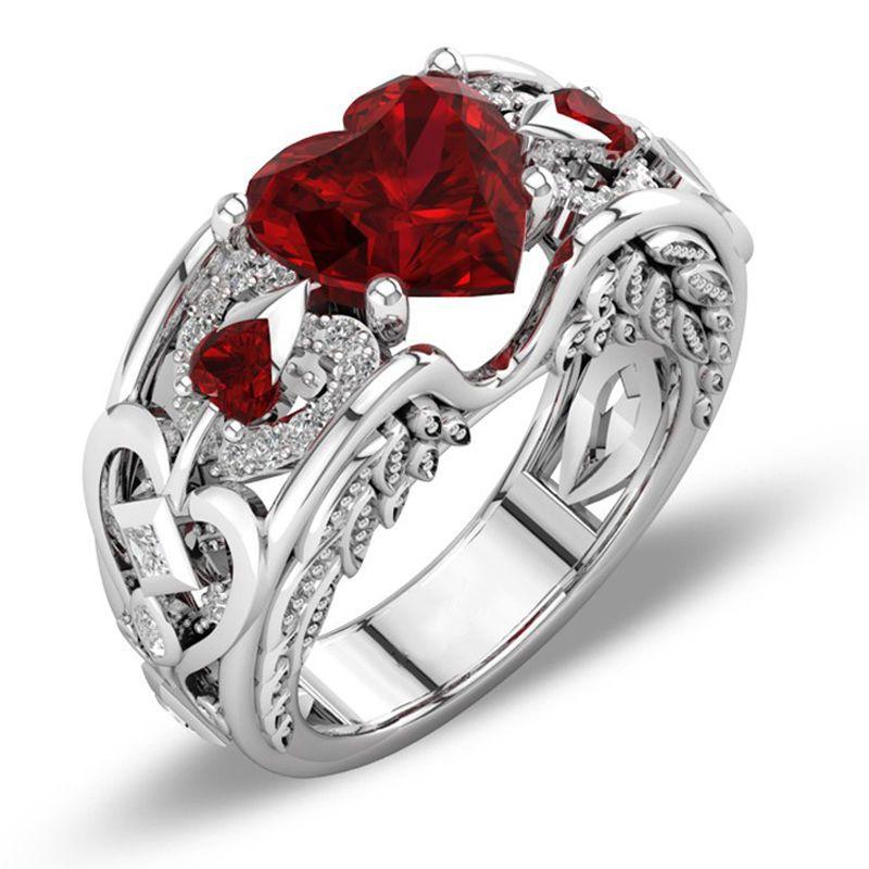 New Womens Fashion Jewelry 925 Silver Heart Ruby Wedding Bridal