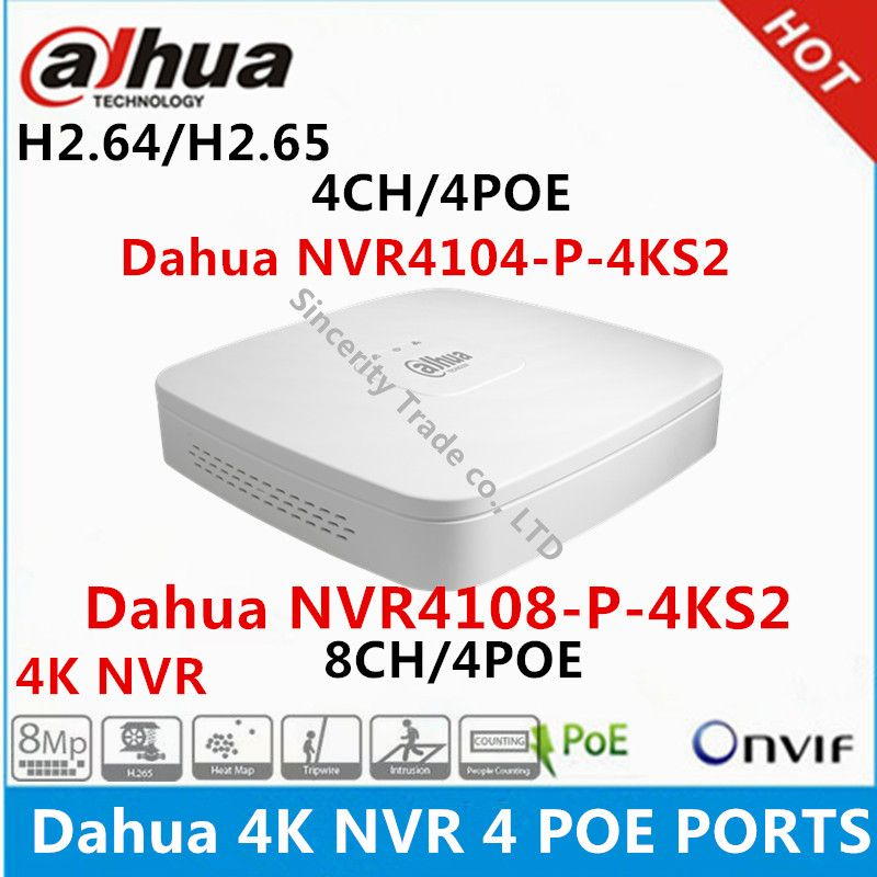 Dahua 4 K NVR NVR4104-P-4KS2 4CH met 4 POE NVR4108-P-4KS2 8ch met