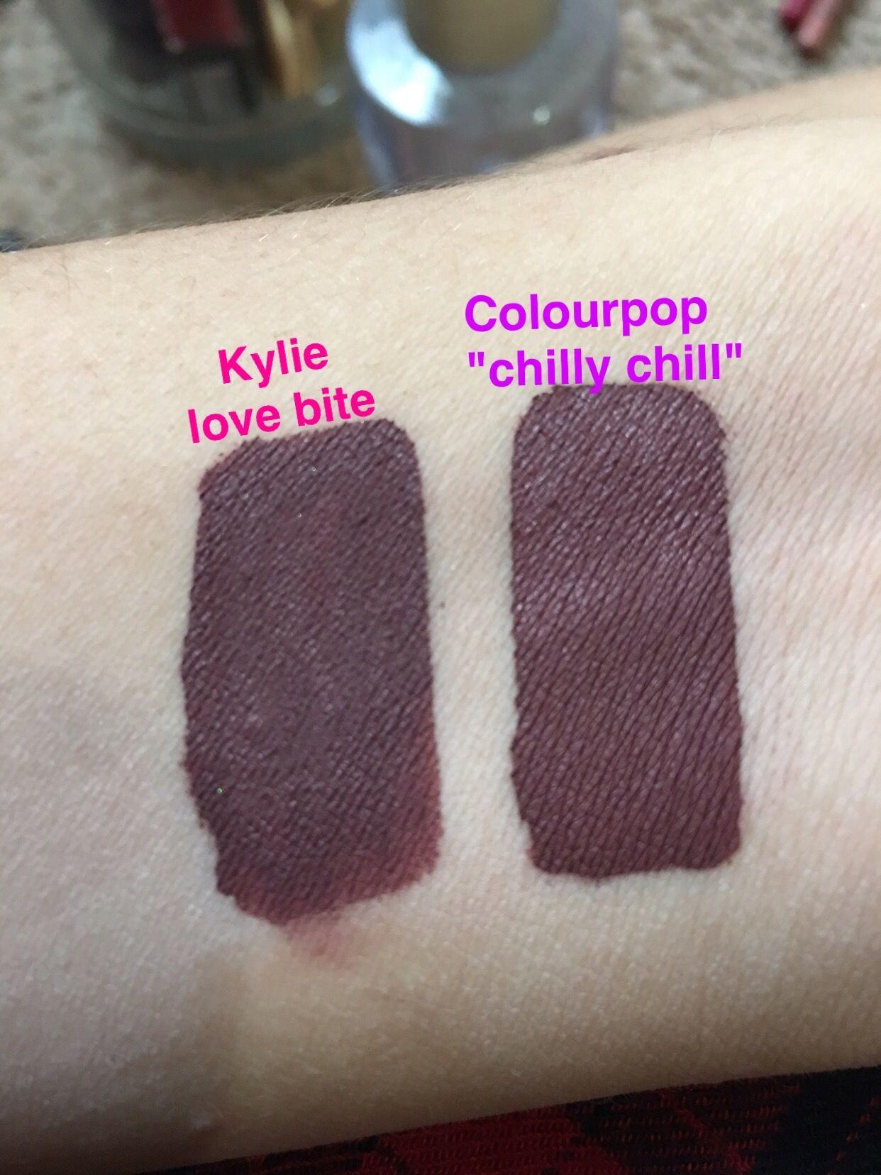 Colourpop Kylie Cosmetics: Kylie Love Bite, Colourpop Chilly Chill