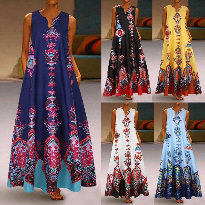 Damen Boho Floral Langes Kleid Sommer Party Abend Strandurlaub Freizeit