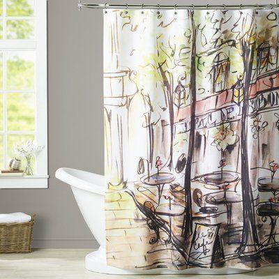 House Of Hampton Calume Paris Cafe Single Shower Curtain