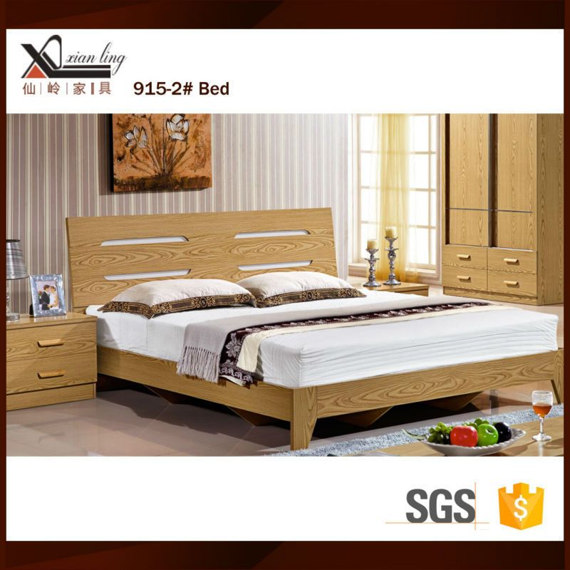 Source New Simple Design Melamine Mdf Wooden Modern Double Bed On