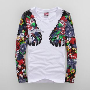 6c44c3391cd4 Japan Tide brand mascot crane and a half A tattoo evisu fall and winter  clothes for men and women couple models round ne