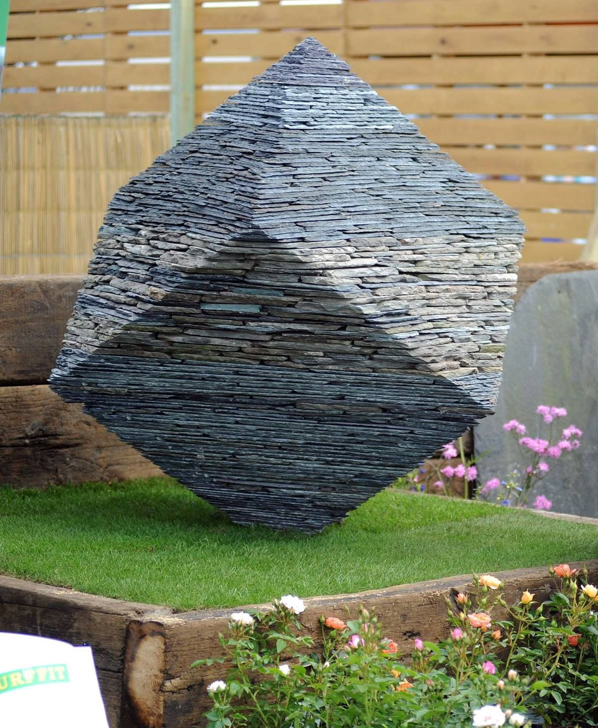 Cube Slate Sculpture By James Parker At Gardening Scotland June