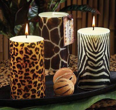 Animal prints.   velas leopardo, jirafa y cebra