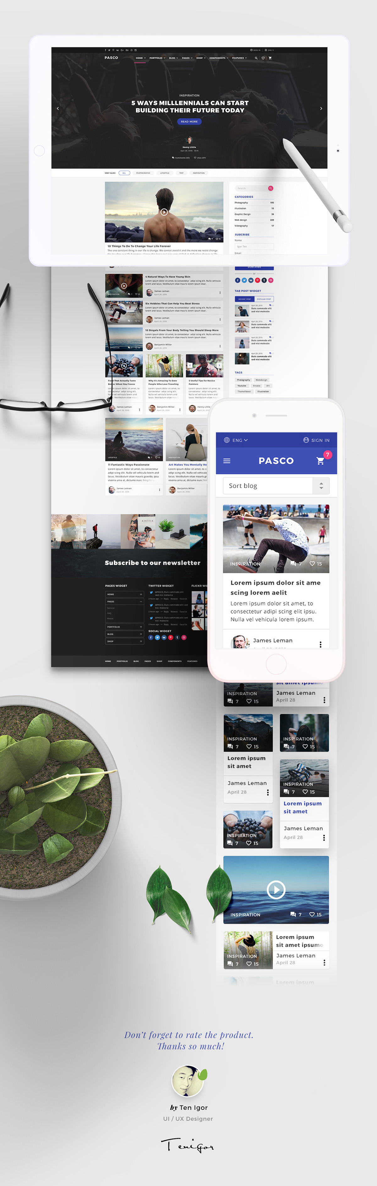 Free .psd template created by Igor Ten.   Landing Pages ...