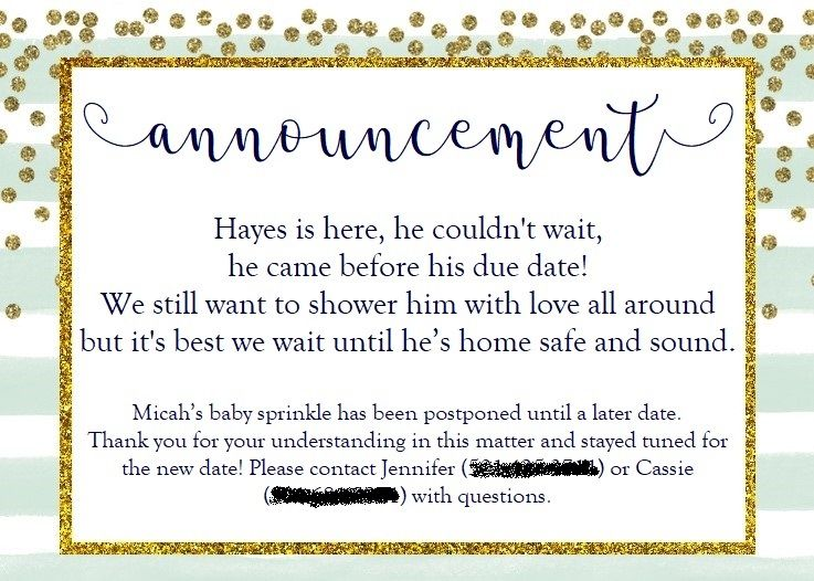 Announcement To Postpone Baby Shower Baby Sprinkle Baby Shower