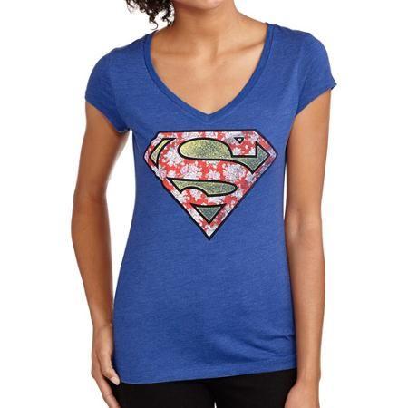 Juniors Superman Ditsy Graphic Tee