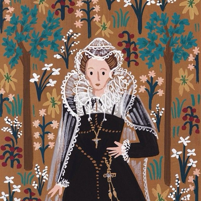 Mary, Queen of Scots - from our 2015 Monarch Calendar which will be available online tomorrow! (ps if you're attending #NYNOW stop by our booth, 7417, for this & lots if new stuff) #riflepaperco