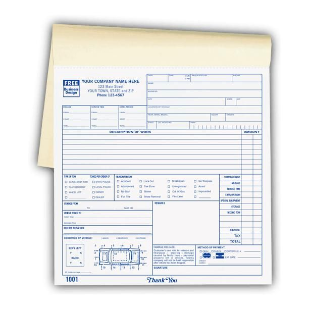 Road Service Invoice Forms  Towing Invoice