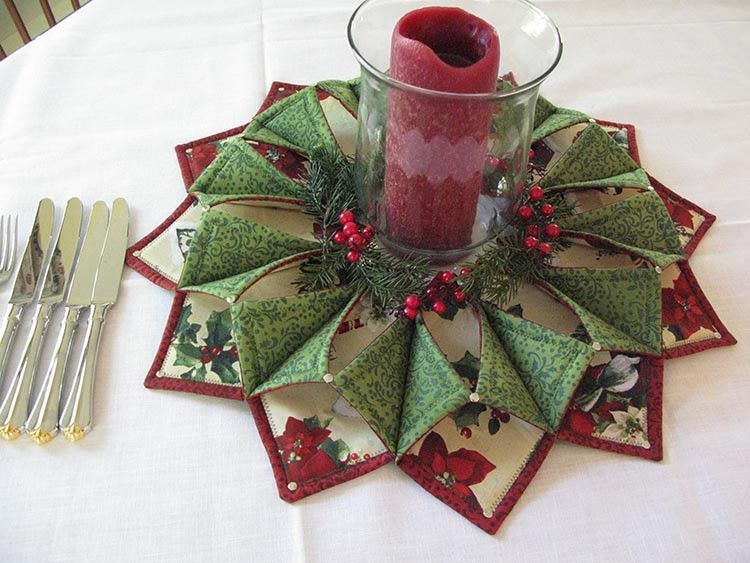 Fold and stitch wreath google search sewing for Instructions to make christmas table decorations
