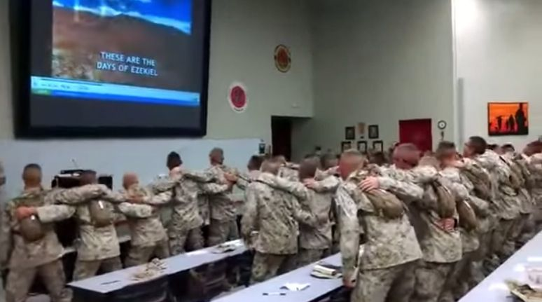 Days of Elijah being sung by a group of Marines
