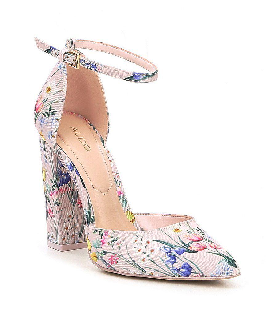 eee2c0a245e ALDO Nicholes Two-Piece Floral Print Ankle Strap Block Heel Pumps ...