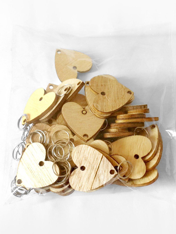 50 pcs diy birthday calendar heart shape wooden discs