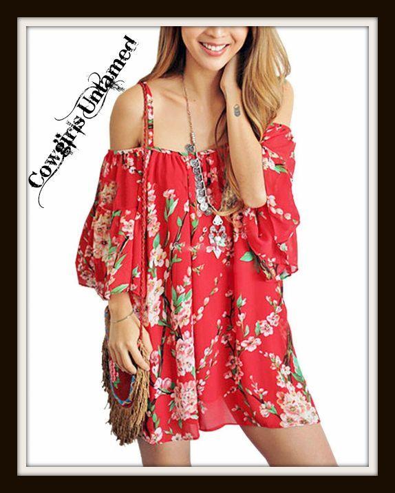 51b76d148d4a WILD FLOWER TOP Red Floral Open Shoulder Chiffon Boho Top   Mini Dress