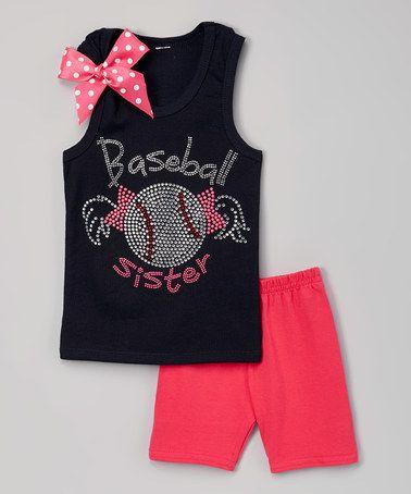 Loving this Navy 'Baseball Sister' Tank & Hot Pink Shorts - Toddler & Girls on #zulily! #zulilyfinds