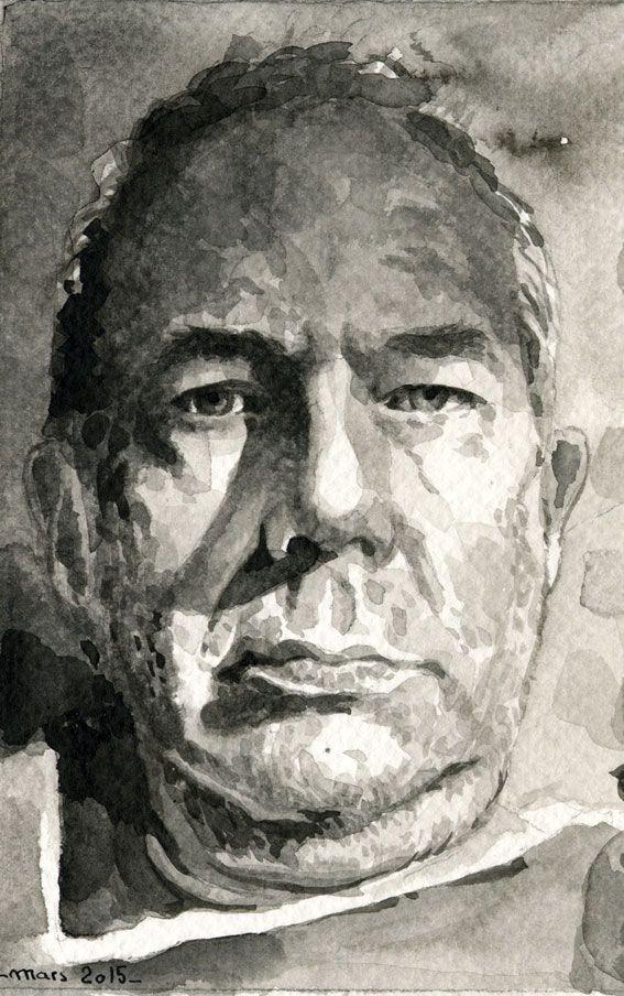 Autoportrait Portrait Soluto Lavis Encre De Chine Autoportrait