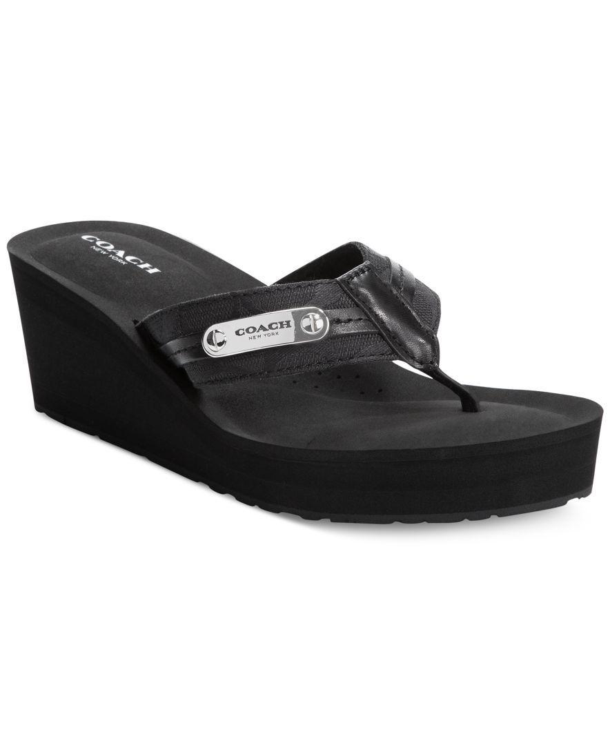7638807525f6 Coach Jaden Wedge Flip Flops Wedge Flip Flops