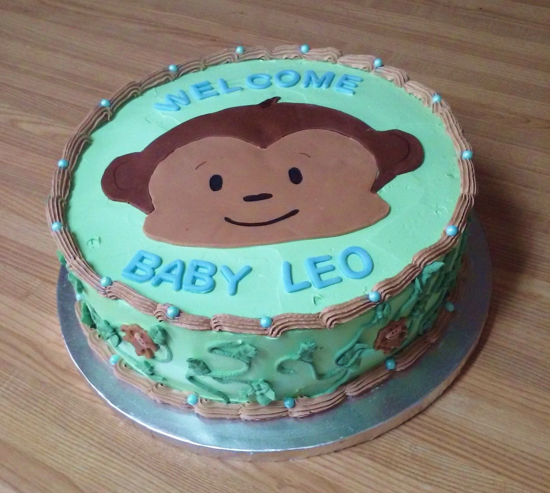 Lil Monkey Welcome Baby Its A Boy Baby Shower Cake
