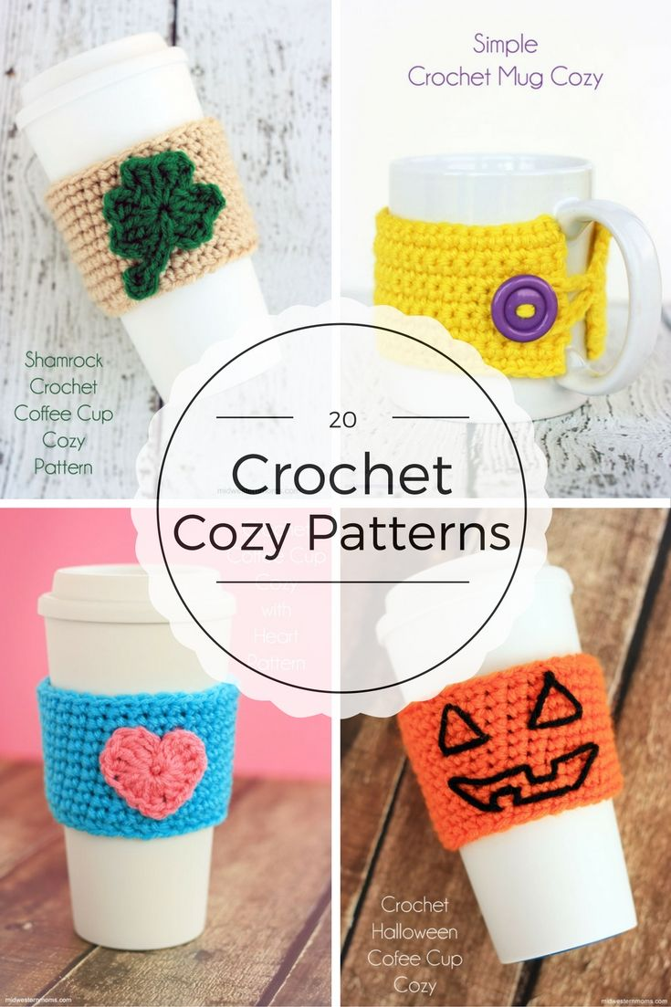 20 Crochet Cozy Patterns | Crochet Cup Cozy | Pinterest | Accesorios