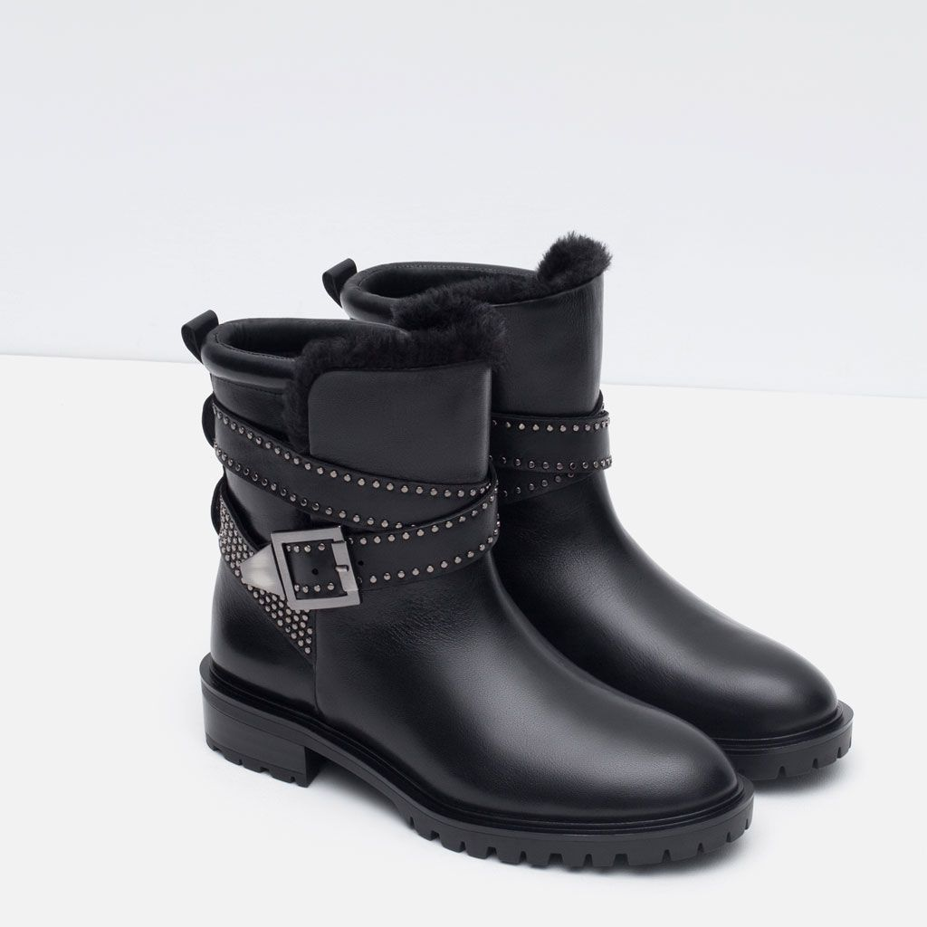 LEATHER BIKER ANKLE BOOTS WITH STRAPS-MUST HAVES-WOMAN | ZARA United States