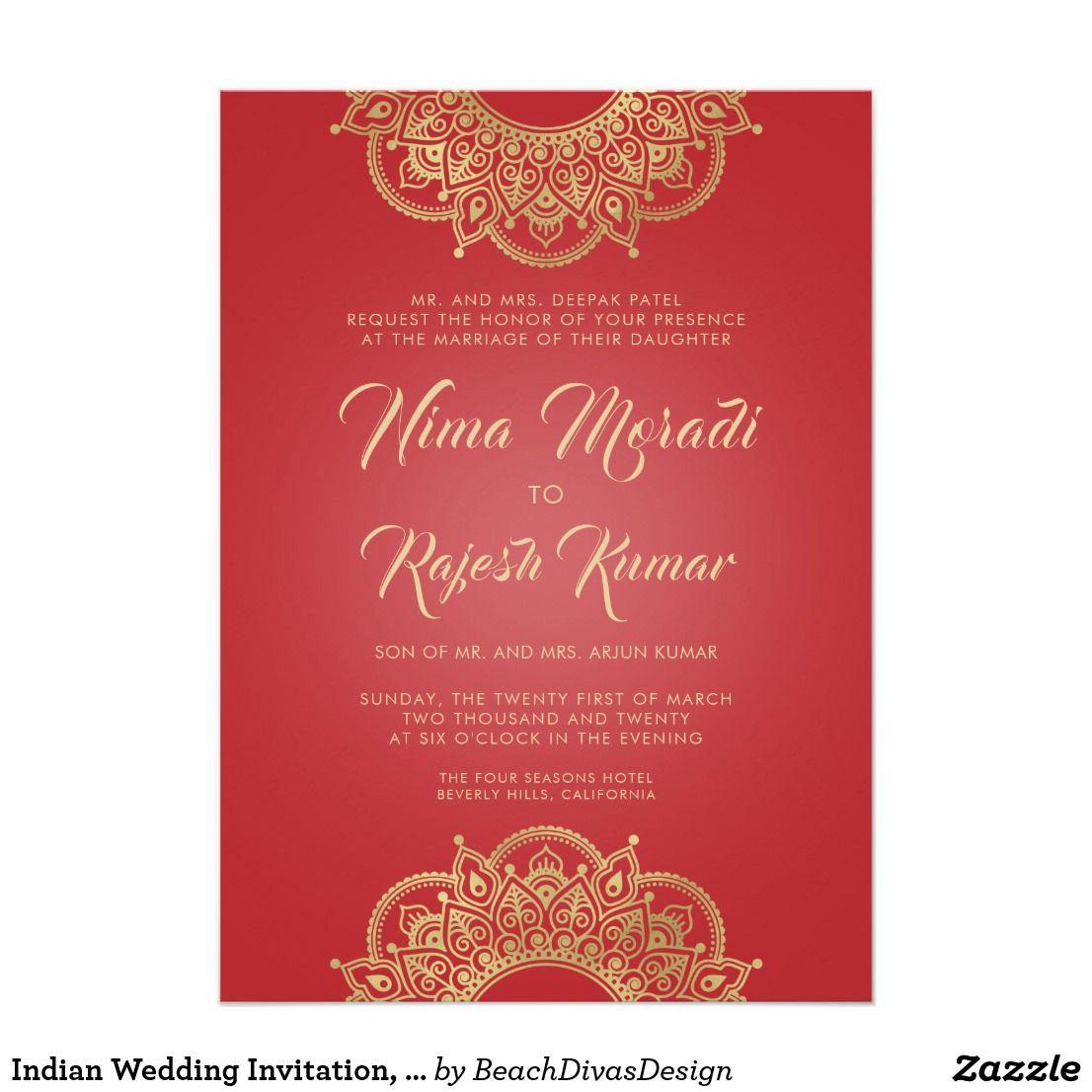 Indian Wedding Invitation, Red, Gold, Mandala Invitation | Indian ...