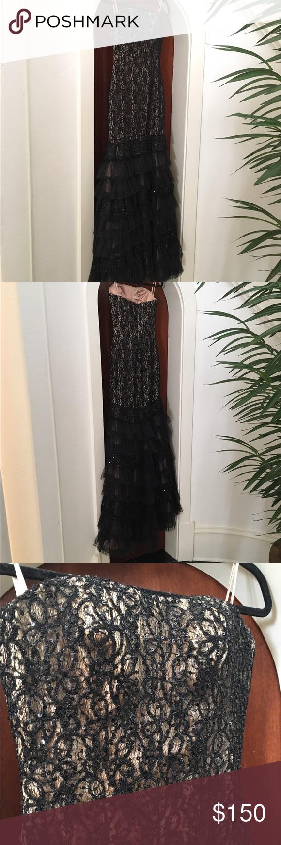 Jovani ny black strapless eveningprom gown sz hollywood glamour