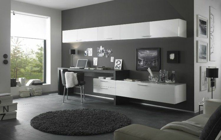 am nagement de bureau moderne dans un salon design en 2018 salon bureau pinterest bureau. Black Bedroom Furniture Sets. Home Design Ideas