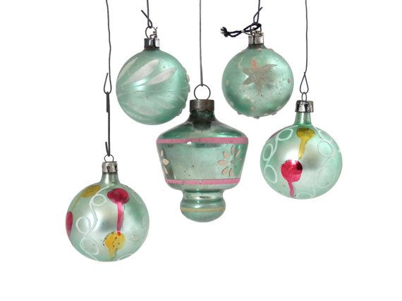 Lot 5 Mint Green Christmas Ornaments Mercury Glass Mixed Lot Polish - polish christmas decorations