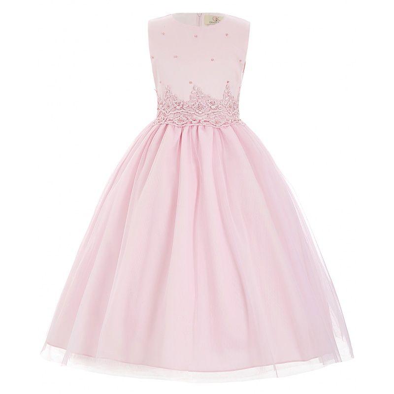 Ružové detské spoločenské šaty s perličkami  fd79571667