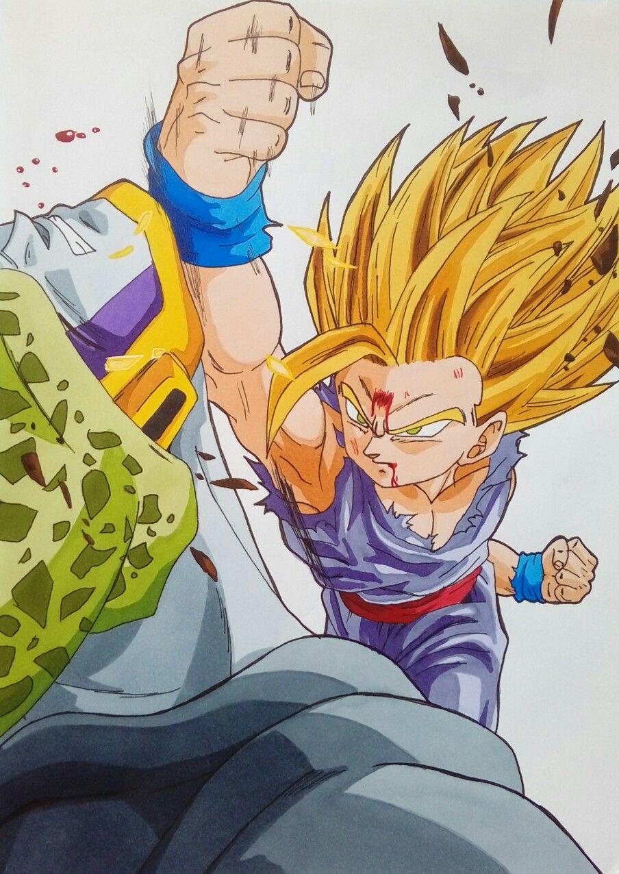 Gohan Ssj2 Vs Cell Perfecto Dragon Ball Z Personajes De Goku Personajes De Dragon Ball Dibujos Chibi