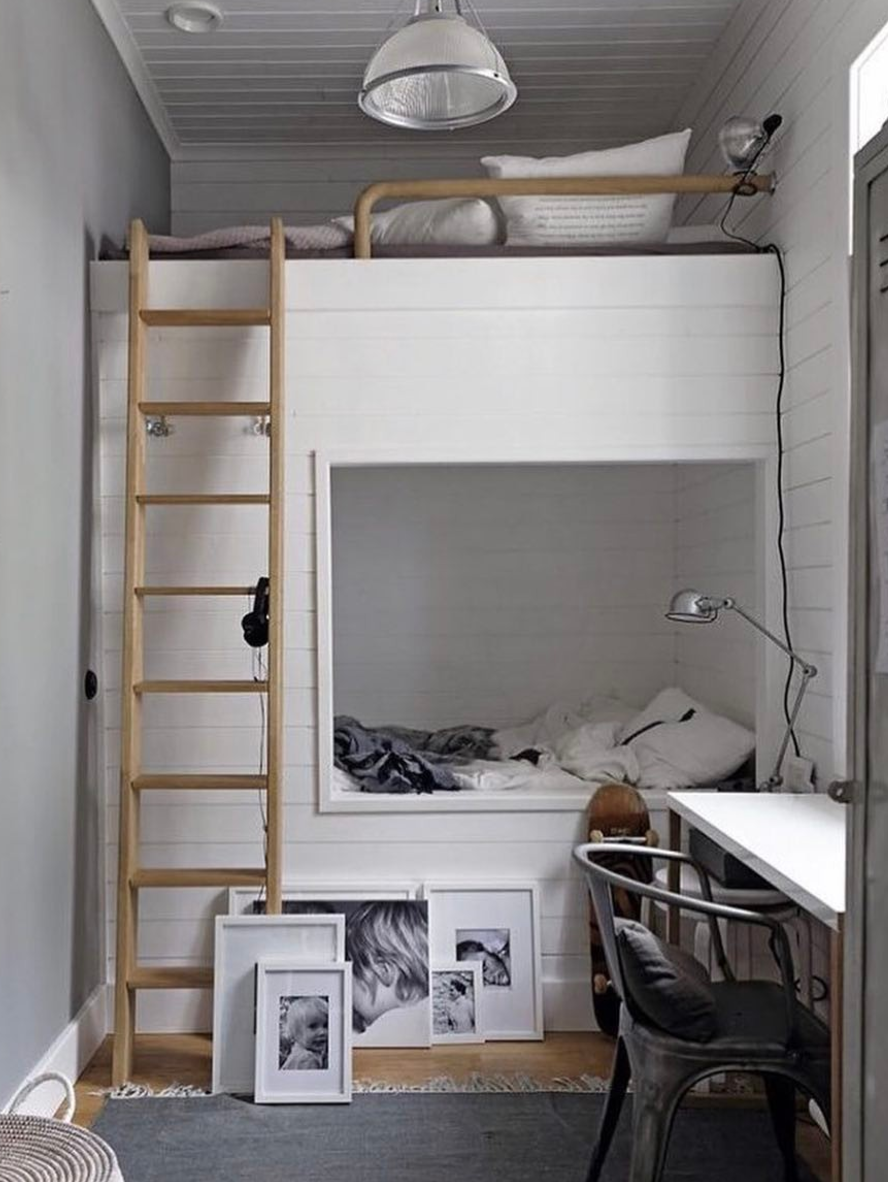 Loft bed bedroom  Storage tips for small rooms  Pokój  Pinterest  Bed Bedroom and