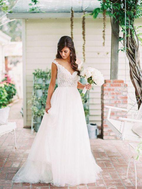 Tüll V-Ausschnitt A-Linie Brautkleider, Weiße Applikationen Lange Brautkleider, WD015