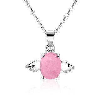 kastm brand 925 sterling silver cats eye opal angel pendant choker necklace fine ksn016