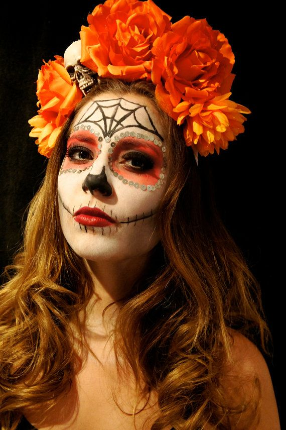 Costume Day of the Dead Headpiece Wreath Dia De los Muertos Catrina Sugar Skull Costume Cosplay Gift Mexican Hand Earrings