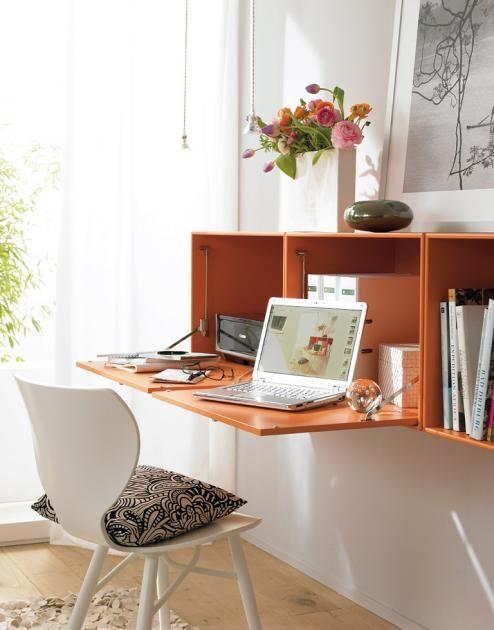Arbeitszimmer Hängeschrank als Schreibtisch Stauraum - wohnzimmer kleine raume