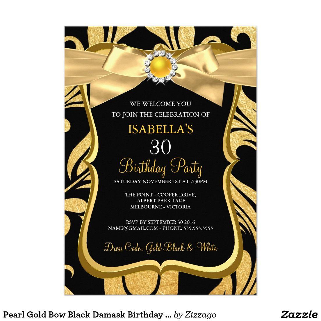 Pearl Gold Bow Black Damask Birthday Invite | Invitation background ...