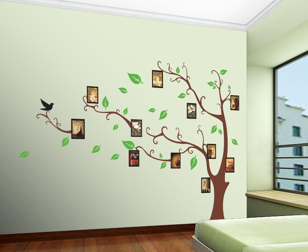 [Visit To Buy] Family Picture Photo Frame Tree Wall Art Stickers Vinyl  Decals Home Part 86