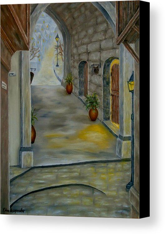 Canvas print, painting, art, town, street, alley, doors, old ...